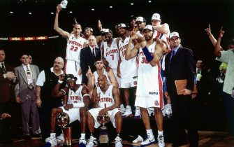 AUBURN HILLS, MI - JUNE 15:  The Detroit Pistons team poses for a picture after their win over the Los Angeles Lakers in game five of the 2004 NBA Finals at The Palace of Auburn Hills on June 15, 2004 in Auburn Hills, Michigan.  NOTE TO USER: User expressly acknowledges and agrees that, by downloading and/or using this Photograph, User is consenting to the terms and conditions of the Getty Images License Agreement. Mandatory Copyright Notice: Copyright 2004 NBAE (Photo by Andrew D. Bernstein/NBAE via Getty Images)