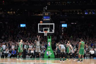 BOSTON, MA - MARCH 3: Caris LeVert #22 of the Brooklyn Nets shoots a free throw to send the game into overtime against the Boston Celtics on March 03, 2020 at the TD Garden in Boston, Massachusetts. NOTE TO USER: User expressly acknowledges and agrees that, by downloading and or using this photograph, User is consenting to the terms and conditions of the Getty Images License Agreement. Mandatory Copyright Notice: Copyright 2020 NBAE (Photo by Brian Babineau/NBAE via Getty Images)