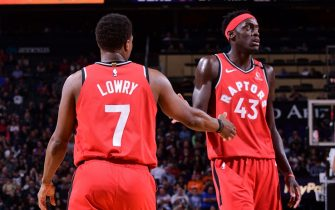 PHOENIX, AZ - MARCH 3: Kyle Lowry #7 and Pascal Siakam #43 of the Toronto Raptors hi-five during the game against the Phoenix Suns on March 3, 2020 at Talking Stick Resort Arena in Phoenix, Arizona. NOTE TO USER: User expressly acknowledges and agrees that, by downloading and or using this photograph, user is consenting to the terms and conditions of the Getty Images License Agreement. Mandatory Copyright Notice: Copyright 2020 NBAE (Photo by Michael Gonzales/NBAE via Getty Images)