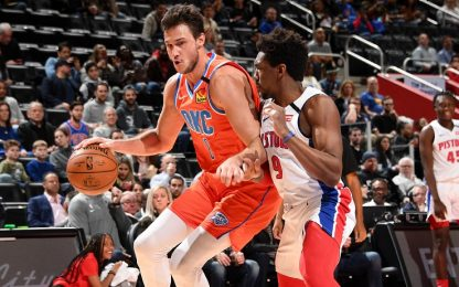 Gallinari: 19 punti e OKC batte Detroit. VIDEO