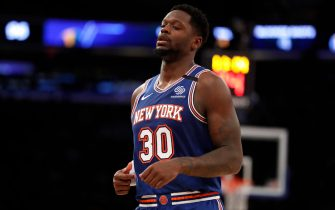 NEW YORK, NEW YORK - MARCH 04: Julius Randle #30 of the New York Knicks in between plays against the Utah Jazz during the second half at Madison Square Garden on March 04, 2020 in New York City. The Utah Jazz won, 112-104. (Photo by Michael Owens/Getty Images)