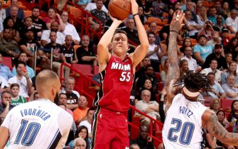 MIAMI, FL - MARCH 4: Duncan Robinson #55 of the Miami Heat shoots the ball against the Orlando Magic on March 4, 2020 at American Airlines Arena in Miami, Florida. NOTE TO USER: User expressly acknowledges and agrees that, by downloading and or using this Photograph, user is consenting to the terms and conditions of the Getty Images License Agreement. Mandatory Copyright Notice: Copyright 2020 NBAE (Photo by Oscar Baldizon/NBAE via Getty Images)
