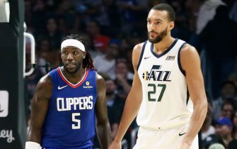 LOS ANGELES, CA - NOVEMBER 3: Montrezl Harrell #5 of the LA Clippers and Rudy Gobert #27 of the Utah Jazz looks on on November 3, 2019 at STAPLES Center in Los Angeles, California. NOTE TO USER: User expressly acknowledges and agrees that, by downloading and/or using this Photograph, user is consenting to the terms and conditions of the Getty Images License Agreement. Mandatory Copyright Notice: Copyright 2019 NBAE (Photo by Chris Elise/NBAE via Getty Images)