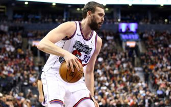 TORONTO, ON - DECEMBER 11:  Marc Gasol #33 of the Toronto Raptors dribbles the ball during the second half of an NBA game against the Los Angeles Clippers at Scotiabank Arena on December 11, 2019 in Toronto, Canada.  NOTE TO USER: User expressly acknowledges and agrees that, by downloading and or using this photograph, User is consenting to the terms and conditions of the Getty Images License Agreement.  (Photo by Vaughn Ridley/Getty Images)