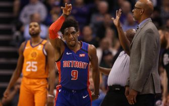 PHOENIX, ARIZONA - FEBRUARY 28: Langston Galloway #9 of the Detroit Pistons reacts to a three point shot ahead of Mikal Bridges #25 of the Phoenix Suns during the second half of the NBA game at Talking Stick Resort Arena on February 28, 2020 in Phoenix, Arizona. The Pistons defeated the Suns 113-111. NOTE TO USER: User expressly acknowledges and agrees that, by downloading and or using this photograph, user is consenting to the terms and conditions of the Getty Images License Agreement. Mandatory Copyright Notice: Copyright 2020 NBAE. (Photo by Christian Petersen/Getty Images)