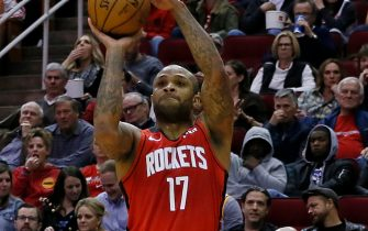 HOUSTON, TEXAS - FEBRUARY 26: P.J. Tucker #17 of the Houston Rockets shoots a three point basket during the fourth quarter against the Memphis Grizzlies at Toyota Center on February 26, 2020 in Houston, Texas.  NOTE TO USER: User expressly acknowledges and agrees that, by downloading and/or using this photograph, user is consenting to the terms and conditions of the Getty Images License Agreement. (Photo by Bob Levey/Getty Images)