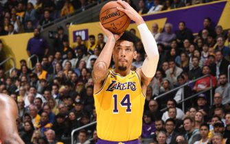 LOS ANGELES, CA - FEBRUARY 6: Danny Green #14 of the Los Angeles Lakers shoots the ball against the Houston Rockets on February 6, 2020 at STAPLES Center in Los Angeles, California. NOTE TO USER: User expressly acknowledges and agrees that, by downloading and/or using this Photograph, user is consenting to the terms and conditions of the Getty Images License Agreement. Mandatory Copyright Notice: Copyright 2020 NBAE (Photo by Andrew D. Bernstein/NBAE via Getty Images)
