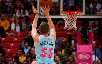 MIAMI, FL - JANUARY 27: Duncan Robinson #55 of the Miami Heat shoots the ball against the Orlando Magic on January 27, 2020 at American Airlines Arena in Miami, Florida. NOTE TO USER: User expressly acknowledges and agrees that, by downloading and or using this Photograph, user is consenting to the terms and conditions of the Getty Images License Agreement. Mandatory Copyright Notice: Copyright 2020 NBAE (Photo by Oscar Baldizon/NBAE via Getty Images)