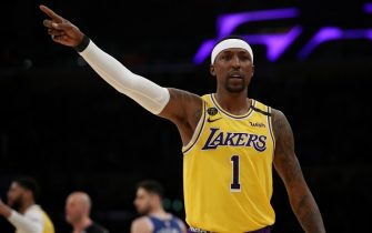 LOS ANGELES, CALIFORNIA - MARCH 03: Kentavious Caldwell-Pope #1 of the Los Angeles Lakers reacts to a play against the Philadelphia 76ers during the second half at Staples Center on March 03, 2020 in Los Angeles, California. NOTE TO USER: User expressly acknowledges and agrees that, by downloading and or using this Photograph, user is consenting to the terms and conditions of the Getty Images License Agreement. (Photo by Katelyn Mulcahy/Getty Images)