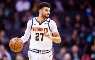 CHARLOTTE, NORTH CAROLINA - MARCH 05: Jamal Murray #27 of the Denver Nuggets with the ball during the second quarter during their game against the Charlotte Hornets at Spectrum Center on March 05, 2020 in Charlotte, North Carolina. NOTE TO USER: User expressly acknowledges and agrees that, by downloading and/or using this photograph, user is consenting to the terms and conditions of the Getty Images License Agreement. (Photo by Jacob Kupferman/Getty Images)