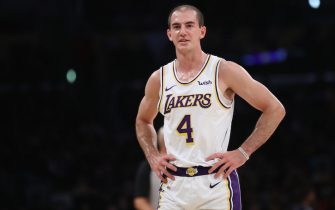 LOS ANGELES, CALIFORNIA - OCTOBER 27:  Alex Caruso #4 of the Los Angeles Lakers looks on during the second half of a game against the Charlotte Hornets at Staples Center on October 27, 2019 in Los Angeles, California. (Photo by Sean M. Haffey/Getty Images)