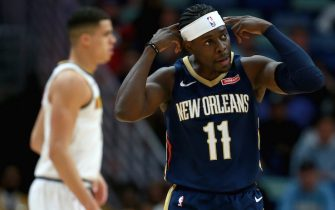 NEW ORLEANS, LOUISIANA - JANUARY 24: Jrue Holiday #11 of the New Orleans Pelicans reacts to a call during a NBA game against the Denver Nuggets at Smoothie King Center on January 24, 2020 in New Orleans, Louisiana. NOTE TO USER: User expressly acknowledges and agrees that, by downloading and or using this photograph, User is consenting to the terms and conditions of the Getty Images License Agreement. (Photo by Sean Gardner/Getty Images)