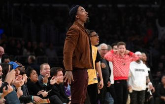 LOS ANGELES, CA - NOVEMBER 15: Former Cleveland Cavaliers basketball player J.R. Smith reacts after a dunk by LeBron James #23 of the Los Angeles Lakers against Sacramento Kings during the first half at Staples Center on November 15, 2019 in Los Angeles, California. NOTE TO USER: User expressly acknowledges and agrees that, by downloading and/or using this Photograph, user is consenting to the terms and conditions of the Getty Images License Agreement. (Photo by Kevork Djansezian/Getty Images)