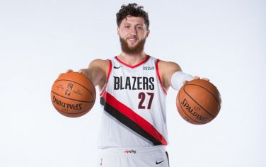 PORTLAND, OR - SEPTEMBER 30: Jusuf Nurkic #27 of the Portland Trail Blazers poses for a portrait during Media Day September 30, 2019 at the Veterans Memorial Coliseum Portland, Oregon. NOTE TO USER: User expressly acknowledges and agrees that, by downloading and or using this photograph, user is consenting to the terms and conditions of the Getty Images License Agreement. Mandatory Copyright Notice: Copyright 2019 NBAE (Photo by Sam Forencich/NBAE via Getty Images)