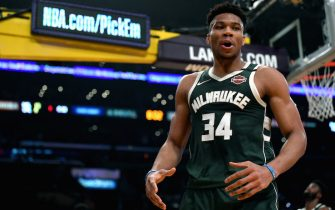 LOS ANGELES, CALIFORNIA - MARCH 06:  Giannis Antetokounmpo #34 of the Milwaukee Bucks reacts after his blocked shot of Anthony Davis #3 of the Los Angeles Lakers at Staples Center on March 06, 2020 in Los Angeles, California.  NOTE TO USER: User expressly acknowledges and agrees that, by downloading and or using this photograph, User is consenting to the terms and conditions of the Getty Images License Agreement.  (Photo by Harry How/Getty Images)