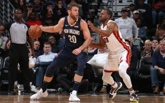 NEW ORLEANS, LA - MARCH 6: Nicolo Melli #20 of the New Orleans Pelicans posts up on Andre Iguodala #28 of the Miami Heat on March 6, 2020 at the Smoothie King Center in New Orleans, Louisiana. NOTE TO USER: User expressly acknowledges and agrees that, by downloading and or using this Photograph, user is consenting to the terms and conditions of the Getty Images License Agreement. Mandatory Copyright Notice: Copyright 2020 NBAE (Photo by Layne Murdoch Jr./NBAE via Getty Images)