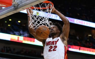 NEW ORLEANS, LOUISIANA - MARCH 06: Jimmy Butler #22 of the Miami Heat dunks during the second half against the New Orleans Pelicans at the Smoothie King Center on March 06, 2020 in New Orleans, Louisiana. NOTE TO USER: User expressly acknowledges and agrees that, by downloading and or using this Photograph, user is consenting to the terms and conditions of the Getty Images License Agreement. (Photo by Jonathan Bachman/Getty Images)