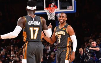 NEW YORK, NY - MARCH 6: Dennis Schroder #17 of the Oklahoma City Thunder high-fives Chris Paul #3 of the Oklahoma City Thunder on March 6, 2020 at Madison Square Garden in New York City, New York.  NOTE TO USER: User expressly acknowledges and agrees that, by downloading and or using this photograph, User is consenting to the terms and conditions of the Getty Images License Agreement. Mandatory Copyright Notice: Copyright 2020 NBAE  (Photo by Jesse D. Garrabrant/NBAE via Getty Images)