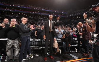 BROOKLYN, NY - MARCH 6: NBA Legend Julius Erving is honored during the game between the San Antonio Spurs and the Brooklyn Nets on March 6, 2020 at Barclays Center in Brooklyn, New York. NOTE TO USER: User expressly acknowledges and agrees that, by downloading and or using this Photograph, user is consenting to the terms and conditions of the Getty Images License Agreement. Mandatory Copyright Notice: Copyright 2020 NBAE (Photo by Nathaniel S. Butler/NBAE via Getty Images)
