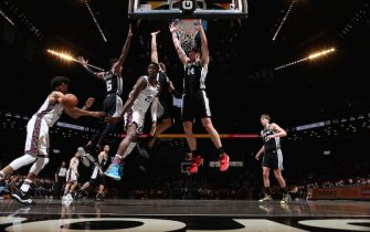 BROOKLYN, NY - MARCH 6: Caris LeVert #22 of the Brooklyn Nets passes the ball during the game against the San Antonio Spurs on March 6, 2020 at Barclays Center in Brooklyn, New York. NOTE TO USER: User expressly acknowledges and agrees that, by downloading and or using this Photograph, user is consenting to the terms and conditions of the Getty Images License Agreement. Mandatory Copyright Notice: Copyright 2020 NBAE (Photo by Nathaniel S. Butler/NBAE via Getty Images)