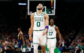 BOSTON, MASSACHUSETTS - MARCH 06: Jayson Tatum #0 of the Boston Celtics reacts during the third quarter of the game against the Utah Jazz at TD Garden on March 06, 2020 in Boston, Massachusetts. NOTE TO USER: User expressly acknowledges and agrees that, by downloading and or using this photograph, User is consenting to the terms and conditions of the Getty Images License Agreement. (Photo by Omar Rawlings/Getty Images)