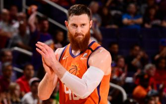 PHOENIX, AZ - MARCH 6:  Aron Baynes #46 of the Phoenix Suns reacts to a play against the Portland Trail Blazers on March 6, 2020 at Talking Stick Resort Arena in Phoenix, Arizona. NOTE TO USER: User expressly acknowledges and agrees that, by downloading and or using this photograph, user is consenting to the terms and conditions of the Getty Images License Agreement. Mandatory Copyright Notice: Copyright 2020 NBAE (Photo by Barry Gossage/NBAE via Getty Images)