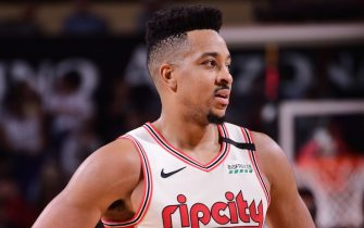 PHOENIX, AZ - MARCH 6:  CJ McCollum #3 of the Portland Trail Blazers looks on against the Phoenix Suns on March 6, 2020 at Talking Stick Resort Arena in Phoenix, Arizona. NOTE TO USER: User expressly acknowledges and agrees that, by downloading and or using this photograph, user is consenting to the terms and conditions of the Getty Images License Agreement. Mandatory Copyright Notice: Copyright 2020 NBAE (Photo by Michael Gonzales/NBAE via Getty Images)