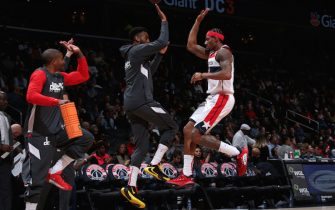 WASHINGTON, DC -  MARCH 6: Bradley Beal #3 of the Washington Wizards reacts to a play with his teammates during the game against the Atlanta Hawks on March 6, 2020 at Capital One Arena in Washington, DC. NOTE TO USER: User expressly acknowledges and agrees that, by downloading and or using this Photograph, user is consenting to the terms and conditions of the Getty Images License Agreement. Mandatory Copyright Notice: Copyright 2020 NBAE (Photo by Ned Dishman/NBAE via Getty Images)
