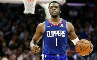 LOS ANGELES, CA - MARCH 1: Reggie Jackson #1 of the LA Clippers handles the ball during a game at the Staples Center on March 1, 2020 in Los Angeles, CA. NOTE TO USER: User expressly acknowledges and agrees that, by downloading and or using this photograph, User is consenting to the terms and conditions of the Getty Images License Agreement. Mandatory Credit: 2020 NBAE (Photo by Chris Elise/NBAE via Getty Images)