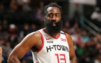 CHARLOTTE, NC - MARCH 7: James Harden #13 of the Houston Rockets looks on during the game against the Charlotte Hornets on March 7, 2020 at Spectrum Center in Charlotte, North Carolina. NOTE TO USER: User expressly acknowledges and agrees that, by downloading and or using this photograph, User is consenting to the terms and conditions of the Getty Images License Agreement. Mandatory Copyright Notice: Copyright 2020 NBAE (Photo by Kent Smith/NBAE via Getty Images)