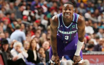 CHARLOTTE, NC - MARCH 7: Terry Rozier #3 of the Charlotte Hornets looks on during the game against the Houston Rockets on March 7, 2020 at Spectrum Center in Charlotte, North Carolina. NOTE TO USER: User expressly acknowledges and agrees that, by downloading and or using this photograph, User is consenting to the terms and conditions of the Getty Images License Agreement. Mandatory Copyright Notice: Copyright 2020 NBAE (Photo by Kent Smith/NBAE via Getty Images)
