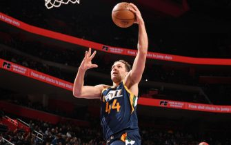 DETROIT, MI - MARCH 7: Bojan Bogdanovic #44 of the Utah Jazz shoots the ball against the Detroit Pistons on March 7, 2020 at Little Caesars Arena in Detroit, Michigan. NOTE TO USER: User expressly acknowledges and agrees that, by downloading and/or using this photograph, User is consenting to the terms and conditions of the Getty Images License Agreement. Mandatory Copyright Notice: Copyright 2020 NBAE (Photo by Chris Schwegler/NBAE via Getty Images)