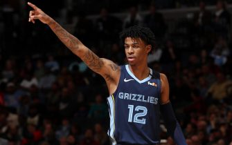 MEMPHIS, TN - MARCH 7: Ja Morant #12 of the Memphis Grizzlies makes a call during the game against the Atlanta Hawks on March 7, 2020 at FedExForum in Memphis, Tennessee. NOTE TO USER: User expressly acknowledges and agrees that, by downloading and or using this photograph, User is consenting to the terms and conditions of the Getty Images License Agreement. Mandatory Copyright Notice: Copyright 2020 NBAE (Photo by Joe Murphy/NBAE via Getty Images)