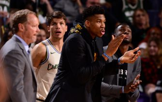 PHOENIX, AZ - MARCH 8: Giannis Antetokounmpo #34 of the Milwaukee Bucks looks on during the game against the Phoenix Suns on March 8, 2020 at Talking Stick Resort Arena in Phoenix, Arizona. NOTE TO USER: User expressly acknowledges and agrees that, by downloading and or using this photograph, user is consenting to the terms and conditions of the Getty Images License Agreement. Mandatory Copyright Notice: Copyright 2020 NBAE (Photo by Barry Gossage/NBAE via Getty Images)