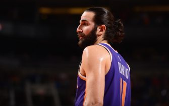 PHOENIX, AZ - MARCH 8: Ricky Rubio #11 of the Phoenix Suns looks on during the game against the Milwaukee Bucks on March 8, 2020 at Talking Stick Resort Arena in Phoenix, Arizona. NOTE TO USER: User expressly acknowledges and agrees that, by downloading and or using this photograph, user is consenting to the terms and conditions of the Getty Images License Agreement. Mandatory Copyright Notice: Copyright 2020 NBAE (Photo by Barry Gossage/NBAE via Getty Images)