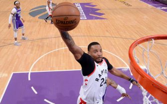 SACRAMENTO, CA - MARCH 8: Norman Powell #24 of the Toronto Raptors drives to the basket during a game against the Sacramento Kings on March 8, 2020 at Golden 1 Center in Sacramento, California. NOTE TO USER: User expressly acknowledges and agrees that, by downloading and or using this Photograph, user is consenting to the terms and conditions of the Getty Images License Agreement. Mandatory Copyright Notice: Copyright 2020 NBAE (Photo by Rocky Widner/NBAE via Getty Images)