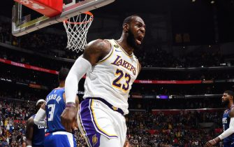 LOS ANGELES, CA - MARCH 8: LeBron James #23 of the Los Angeles Lakers reacts to a play during the game against the LA Clippers on March 8, 2020 at STAPLES Center in Los Angeles, California. NOTE TO USER: User expressly acknowledges and agrees that, by downloading and/or using this Photograph, user is consenting to the terms and conditions of the Getty Images License Agreement. Mandatory Copyright Notice: Copyright 2020 NBAE (Photo by Andrew D. Bernstein/NBAE via Getty Images)