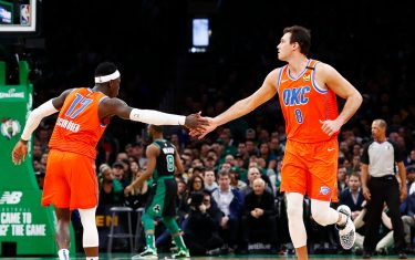 BOSTON, MASSACHUSETTS - MARCH 08: Danilo Gallinari #8 of the Oklahoma City Thunder and Dennis Schroder #17 of the Oklahoma City Thunder reacts during the fourth quarter of the game against the Boston Celtics at TD Garden on March 08, 2020 in Boston, Massachusetts. NOTE TO USER: User expressly acknowledges and agrees that, by downloading and or using this photograph, User is consenting to the terms and conditions of the Getty Images License Agreement. (Photo by Omar Rawlings/Getty Images)