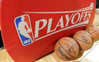 HOUSTON, TX - MAY 12: The NBA Playoffs logo and Official Spalding Balls before a game between the Los Angeles Clippers and Houston Rockets in Game Five of the Western Conference Semifinals during the 2015 NBA Playoffs on May 12, 2015 at the Toyota Center in Houston, Texas. NOTE TO USER: User expressly acknowledges and agrees that, by downloading and or using this photograph, User is consenting to the terms and conditions of the Getty Images License Agreement. Mandatory Copyright Notice: Copyright 2015 NBAE (Photo by Andrew D. Bernstein/NBAE via Getty Images)