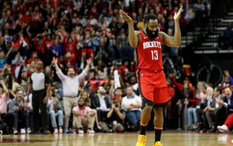 HOUSTON, TEXAS - MARCH 10: James Harden #13 of the Houston Rockets reacts after a three point basket in the fourth quarter against the Minnesota Timberwolves at Toyota Center on March 10, 2020 in Houston, Texas.  NOTE TO USER: User expressly acknowledges and agrees that, by downloading and or using this photograph, User is consenting to the terms and conditions of the Getty Images License Agreement. (Photo by Tim Warner/Getty Images)