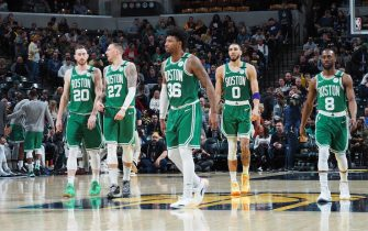 INDIANAPOLIS, IN - MARCH 10:  Boston Celtics look on during game against the Indiana Pacers on March 10, 2020 at Bankers Life Fieldhouse in Indianapolis, Indiana. NOTE TO USER: User expressly acknowledges and agrees that, by downloading and or using this Photograph, user is consenting to the terms and conditions of the Getty Images License Agreement. Mandatory Copyright Notice: Copyright 2020 NBAE (Photo by Ron Hoskins/NBAE via Getty Images)