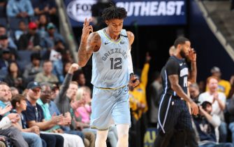 MEMPHIS, TN - MARCH 10: Ja Morant #12 of the Memphis Grizzlies reacts to a play against the Orlando Magic on March 10, 2020 at FedExForum in Memphis, Tennessee. NOTE TO USER: User expressly acknowledges and agrees that, by downloading and or using this photograph, User is consenting to the terms and conditions of the Getty Images License Agreement. Mandatory Copyright Notice: Copyright 2020 NBAE (Photo by Joe Murphy/NBAE via Getty Images)