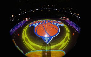 NEW YORK, NY - DECEMBER 4:  A general view of the New York Knicks logo before a game against the Sacramento Kings on December 4, 2016 at Madison Square Garden in New York City, New York. NOTE TO USER: User expressly acknowledges and agrees that, by downloading and/or using this photograph, user is consenting to the terms and conditions of the Getty Images License Agreement. Mandatory Copyright Notice: Copyright 2016 NBAE (Photo by Nathaniel S. Butler/NBAE via Getty Images)