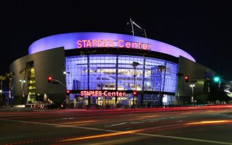 LOS ANGELES, CA - AUGUST 29: An exterior view of Staples Center in downtown Los Angeles on August 29, 2015 in Los Angeles, California.  (Photo by FG/Bauer-Griffin/GC Images)