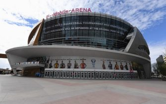 LAS VEGAS, NEVADA - MARCH 12:  A message on an LED video wall informs fans of the cancellation of the Pac-12 Conference men's basketball tournament at T-Mobile Arena on March 12, 2020 in Las Vegas, Nevada. The tournament was canceled in an effort to limit the spread of the coronavirus.  (Photo by Ethan Miller/Getty Images)