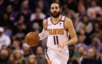 PHOENIX, ARIZONA - JANUARY 20: Ricky Rubio #11 of the Phoenix Suns handles the ball against the San Antonio Spurs during the NBA game at Talking Stick Resort Arena on January 20, 2020 in Phoenix, Arizona. The Spurs defeated the Suns 120-118. NOTE TO USER: User expressly acknowledges and agrees that, by downloading and or using this photograph, user is consenting to the terms and conditions of the Getty Images License Agreement. (Photo by Christian Petersen/Getty Images)