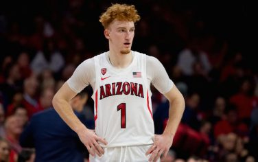 TUCSON, ARIZONA - DECEMBER 14: Nico Mannion #1 of the Arizona Wildcats reacts on the court in the second half against the Gonzaga Bulldogs at McKale Center on December 14, 2019 in Tucson, Arizona. The Gonzaga Bulldogs won 84 - 80. (Photo by Jennifer Stewart/Getty Images)