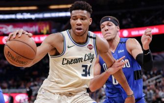 ORLANDO, FL - FEBRUARY 8: Giannis Antetokounmpo #34 of the Milwaukee Bucks is defended by Aaron Gordon #00 of the Orlando Magic during the game at the Amway Center on February 8, 2020 in Orlando, Florida. The Bucks defeated the Magic 111 to 95. NOTE TO USER: User expressly acknowledges and agrees that, by downloading and or using this photograph, User is consenting to the terms and conditions of the Getty Images License Agreement. (Photo by Don Juan Moore/Getty Images) *** Local Caption *** Giannis Antetokounmpo; Aaron Gordon