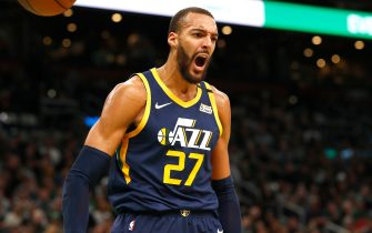 BOSTON, MASSACHUSETTS - MARCH 06: Rudy Gobert #27 of the Utah Jazz reacts after dunking during the third quarter of the game against the Boston Celtics at TD Garden on March 06, 2020 in Boston, Massachusetts. NOTE TO USER: User expressly acknowledges and agrees that, by downloading and or using this photograph, User is consenting to the terms and conditions of the Getty Images License Agreement. (Photo by Omar Rawlings/Getty Images)