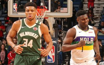 NEW ORLEANS, LA - FEBRUARY 4: Giannis Antetokounmpo #34 of the Milwaukee Bucks and Zion Williamson #1 of the New Orleans Pelicans run on during a game on February 4, 2020 at the Smoothie King Center in New Orleans, Louisiana. NOTE TO USER: User expressly acknowledges and agrees that, by downloading and or using this Photograph, user is consenting to the terms and conditions of the Getty Images License Agreement. Mandatory Copyright Notice: Copyright 2020 NBAE (Photo by Layne Murdoch Jr./NBAE via Getty Images)